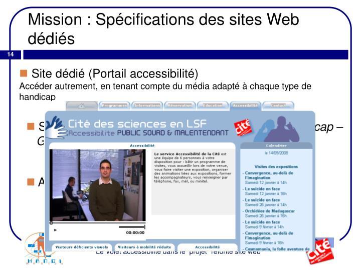 Mission : Spécifications des sites Web dédiés