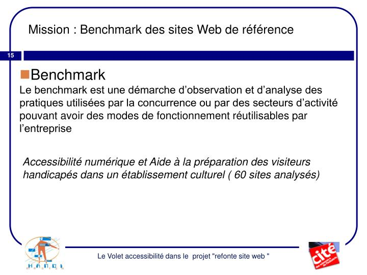 Mission : Benchmark des sites Web de référence