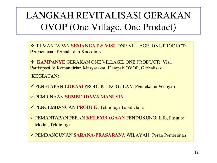 LANGKAH REVITALISASI GERAKAN OVOP (One Village, One Product)