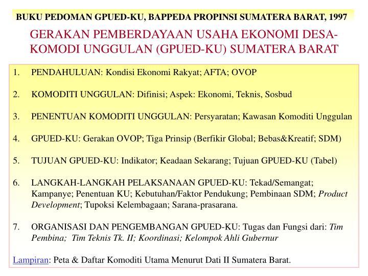 BUKU PEDOMAN GPUED-KU, BAPPEDA PROPINSI SUMATERA BARAT, 1997