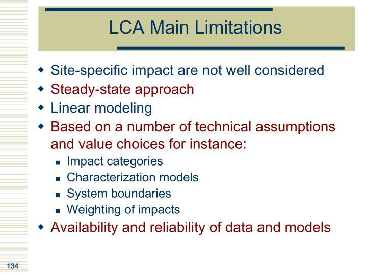 LCA Main Limitations
