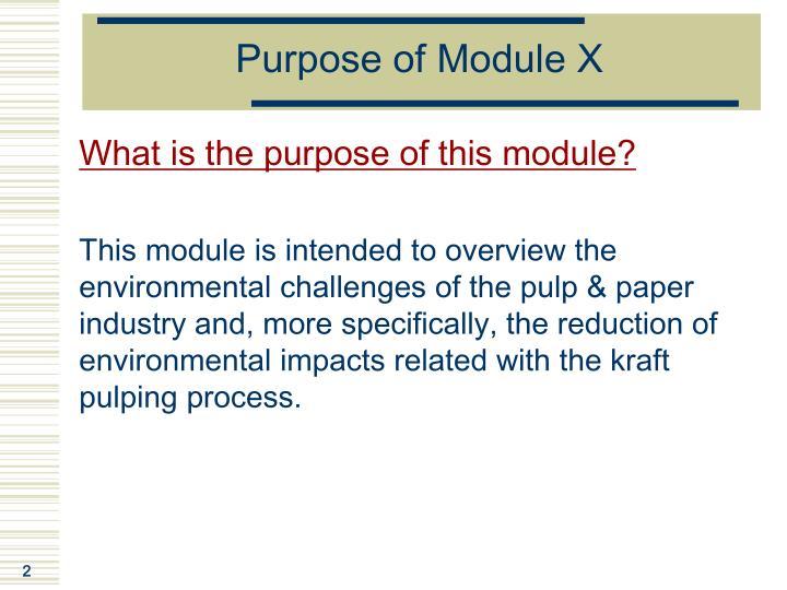 Purpose of Module X