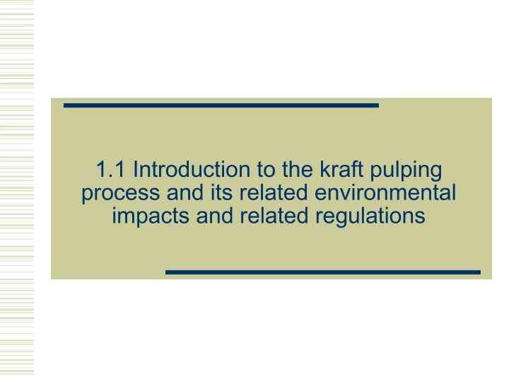 1.1 Introduction to the kraft pulping process and its related environmental impacts and related regulations