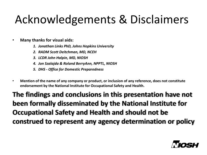 Acknowledgements & Disclaimers