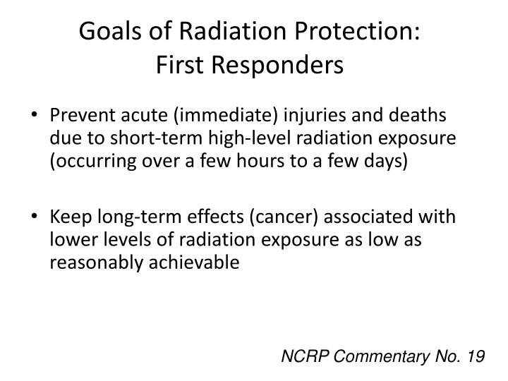 Goals of Radiation Protection: