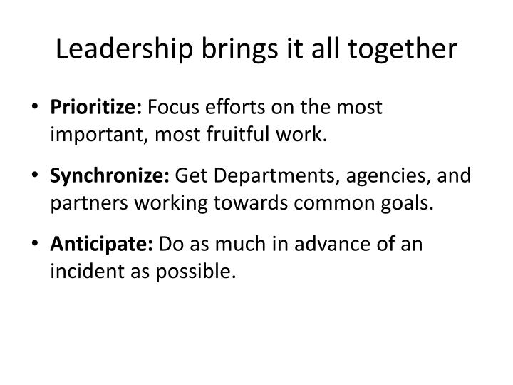 Leadership brings it all together