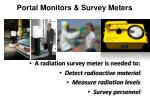 portal monitors survey meters