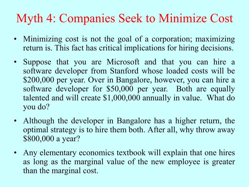 Myth 4: Companies Seek to Minimize Cost