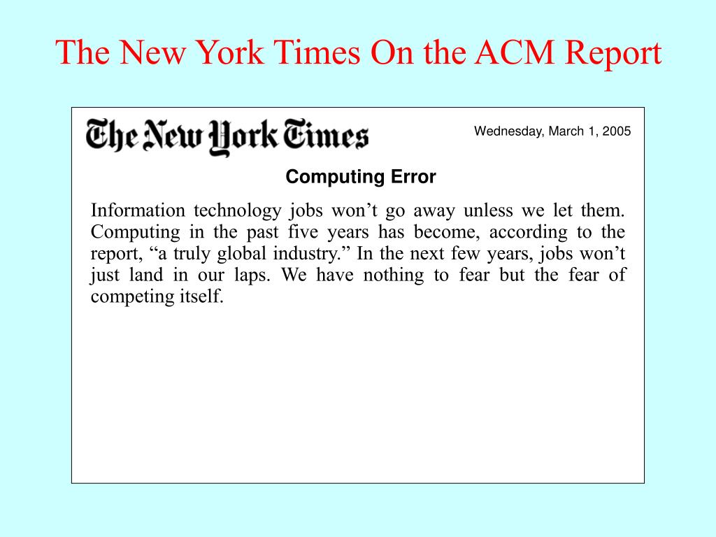 The New York Times On the ACM Report