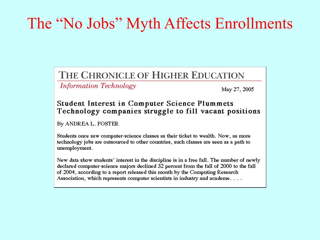 """The """"No Jobs"""" Myth Affects Enrollments"""