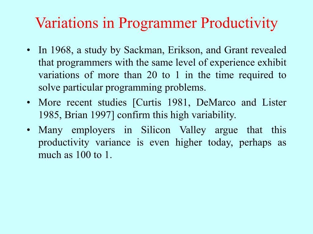Variations in Programmer Productivity