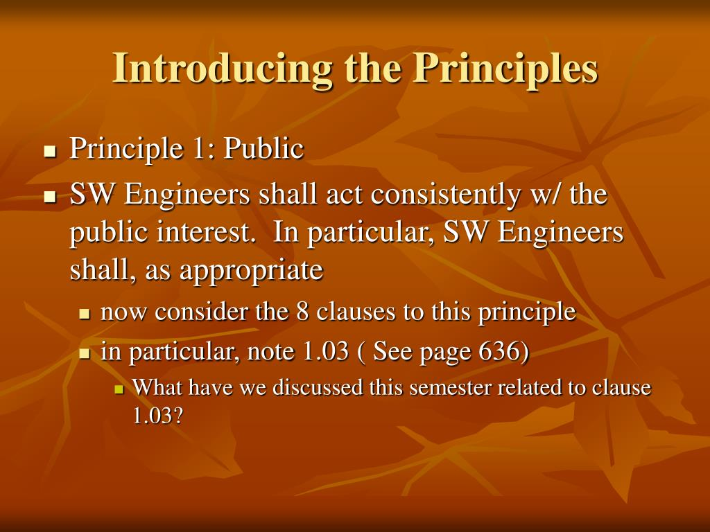 Introducing the Principles