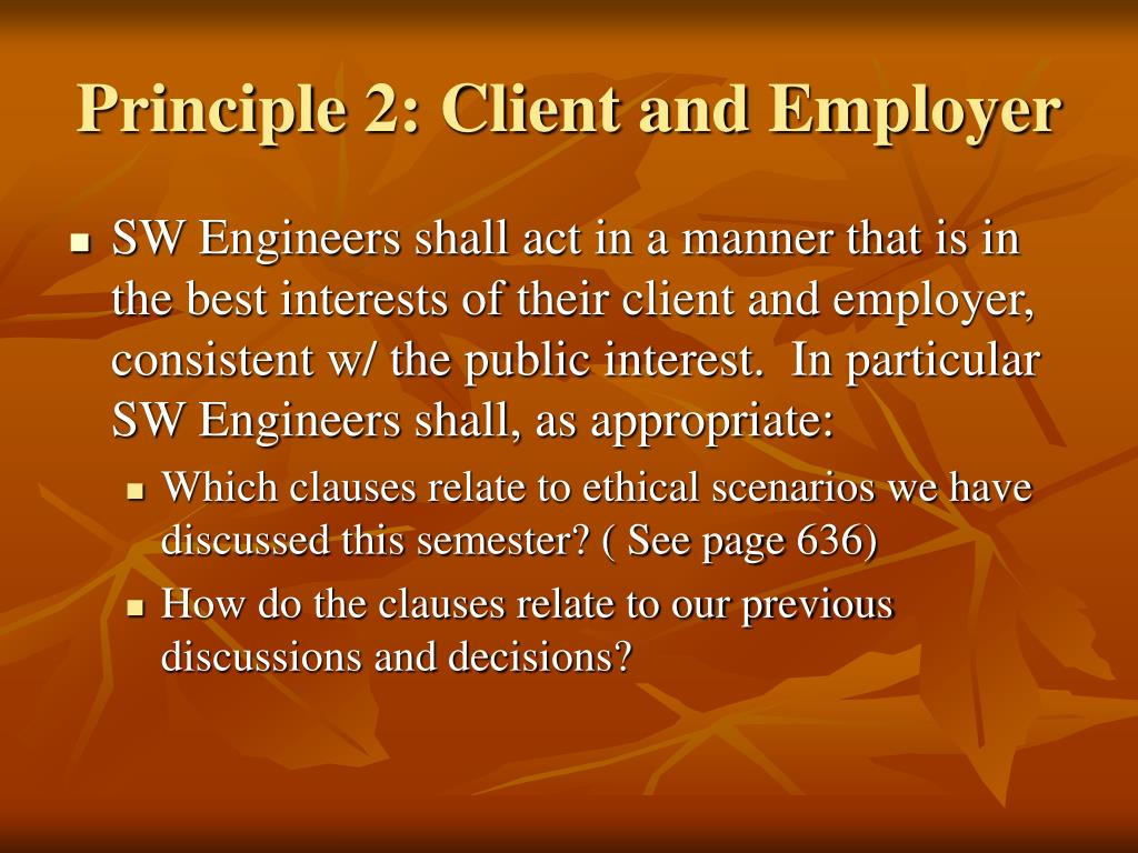 Principle 2: Client and Employer