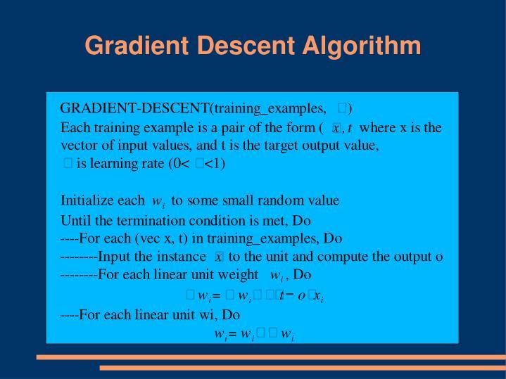 Gradient Descent Algorithm