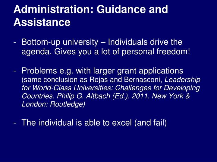 Administration: Guidance and Assistance