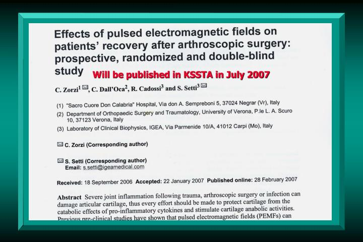 Will be published in KSSTA in July 2007