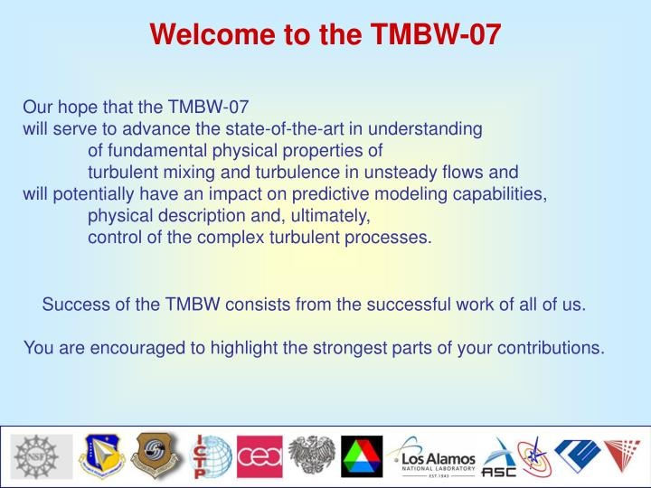 Welcome to the TMBW-07