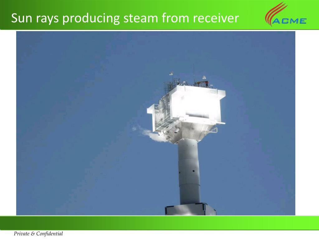 Sun rays producing steam from receiver