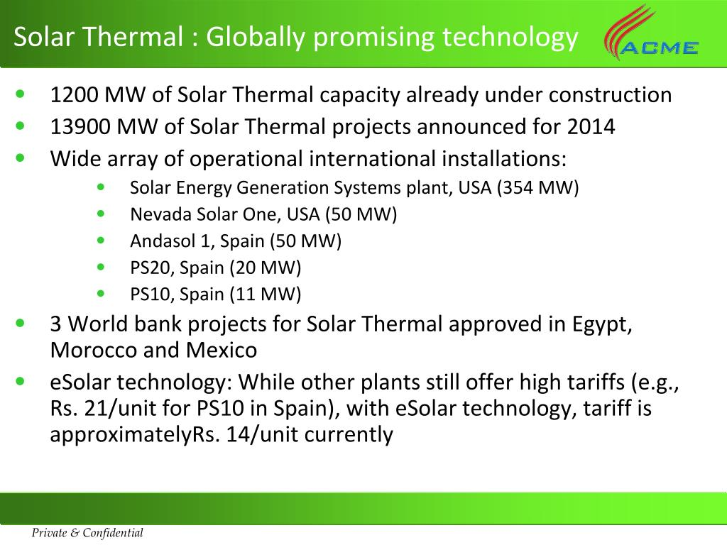 Solar Thermal : Globally promising technology