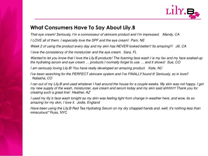 What Consumers Have To Say About Lily.B