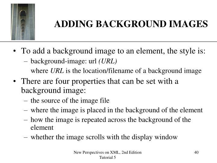ADDING BACKGROUND IMAGES