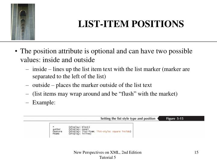 LIST-ITEM POSITIONS