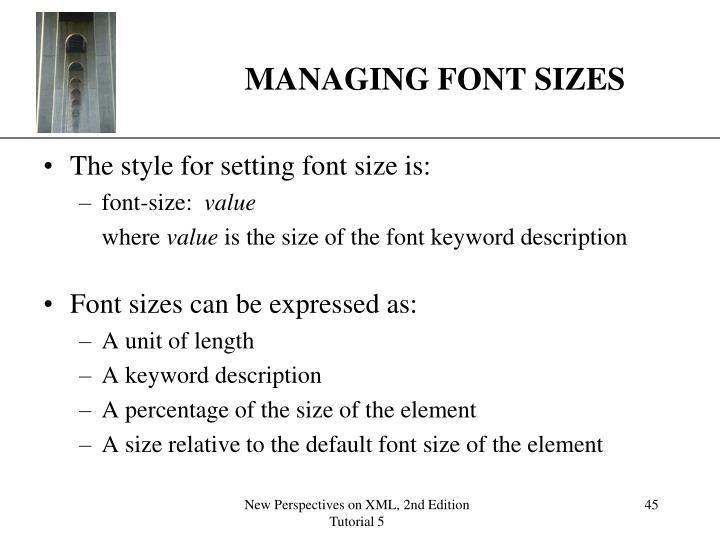 MANAGING FONT SIZES