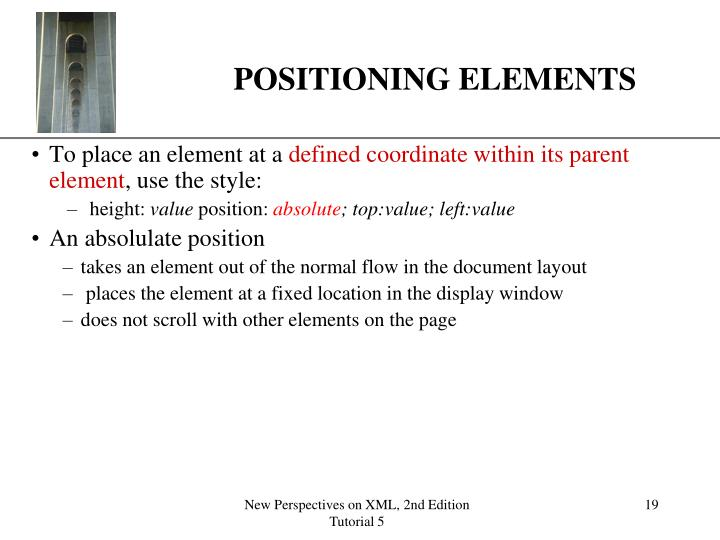 POSITIONING ELEMENTS