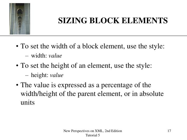 SIZING BLOCK ELEMENTS
