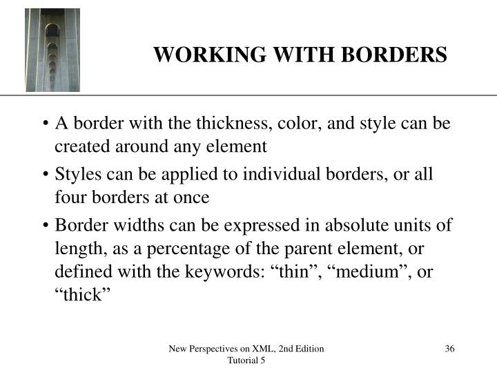 WORKING WITH BORDERS