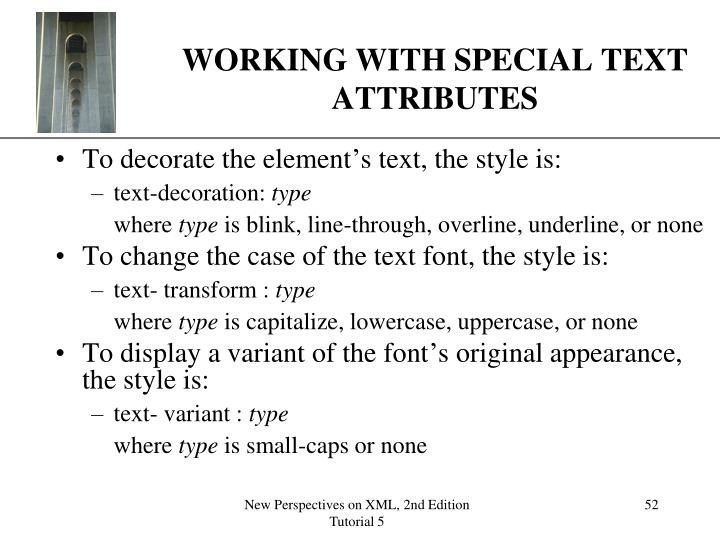 WORKING WITH SPECIAL TEXT ATTRIBUTES