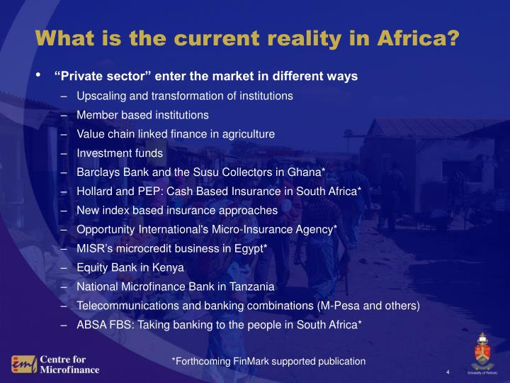 What is the current reality in Africa?