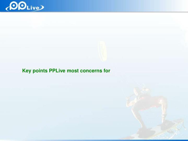 Key points PPLive most concerns for