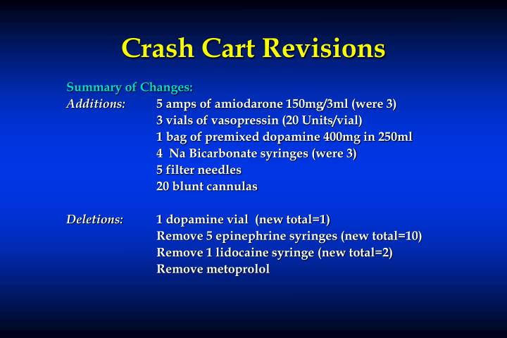 Crash Cart Revisions