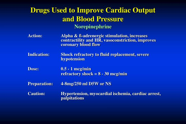 Drugs Used to Improve Cardiac Output and Blood Pressure