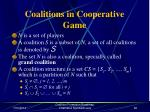 coalitions in cooperative game
