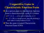 cooperative game in characteristic function form