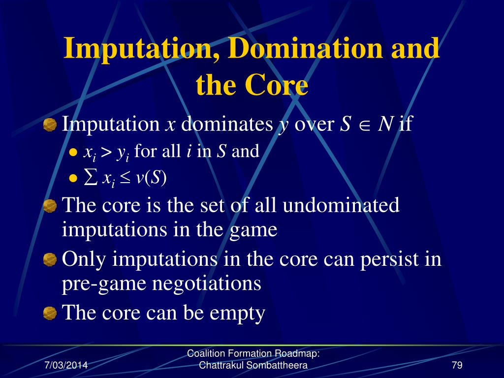 Imputation, Domination and the Core
