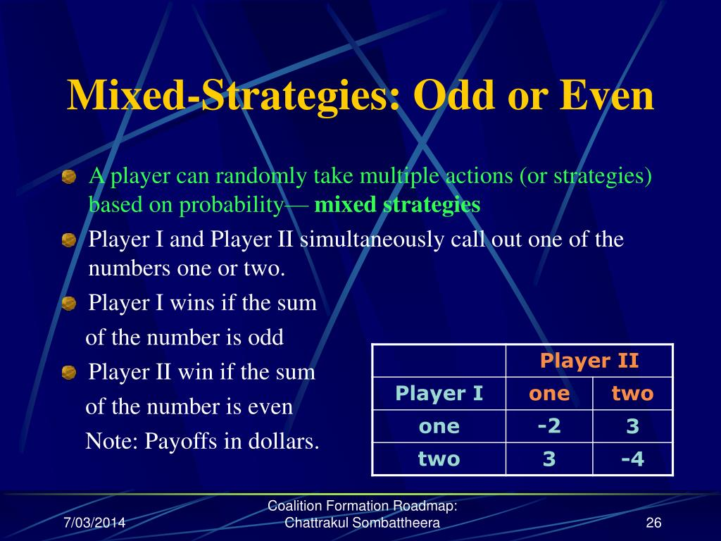 Mixed-Strategies: Odd or Even
