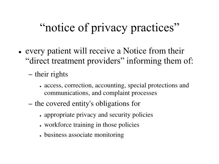 """notice of privacy practices"""