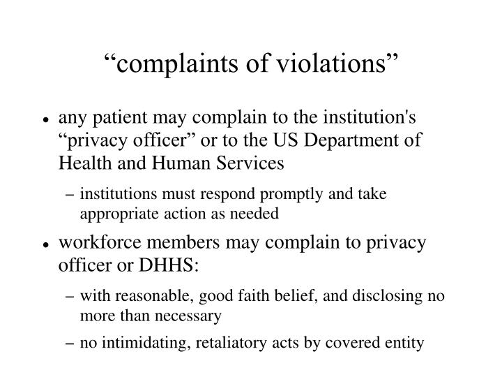 """complaints of violations"""