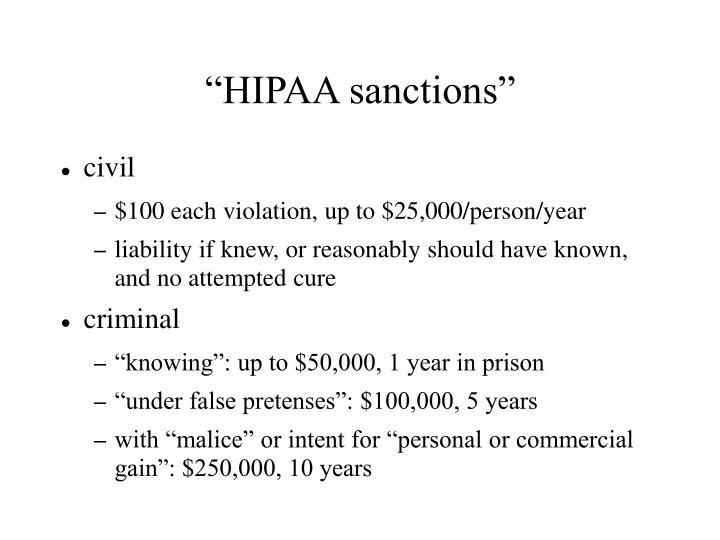 """""""HIPAA sanctions"""""""