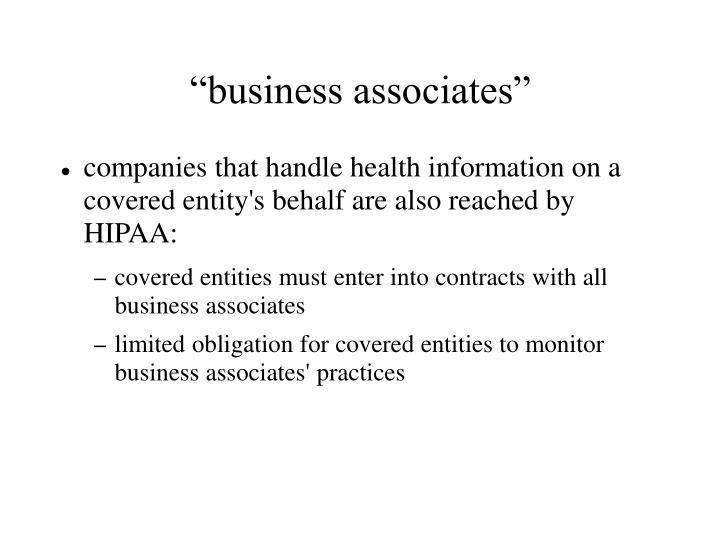 """""""business associates"""""""