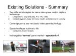 existing solutions summary