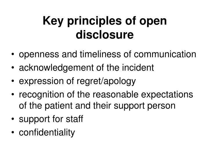 Key principles of open disclosure