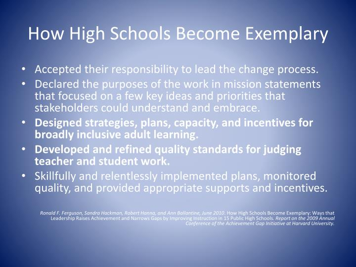 How High Schools Become Exemplary