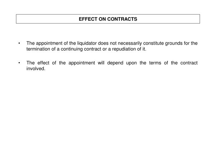 EFFECT ON CONTRACTS