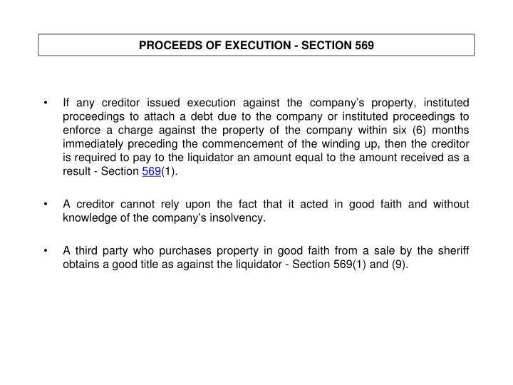PROCEEDS OF EXECUTION - SECTION 569