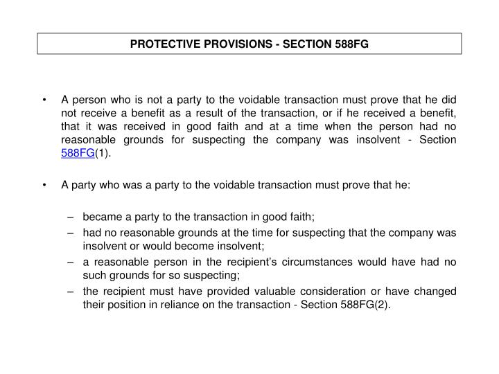 PROTECTIVE PROVISIONS - SECTION 588FG