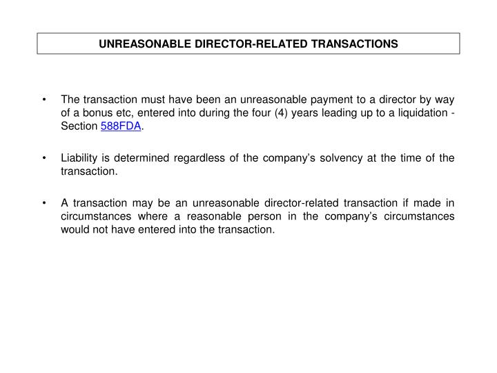 UNREASONABLE DIRECTOR-RELATED TRANSACTIONS